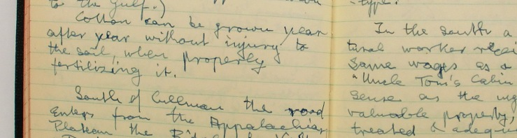 "Image: a cropped close-up of two pages of Amiran's diary that describes cotton production and the book ""Uncle Tom's Cabin"". It shows the yellowed pages and his blocky cursive handwriting."