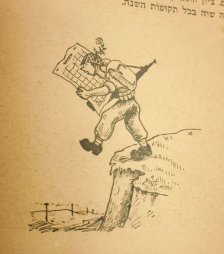 A cartoon on aged, yellowed paper of a soldier with a backpack and gun reading a map while he steps, unnoticing, off of a cliff. The implication is that he's looking at the map but forgetting to look around him at where he's walking.